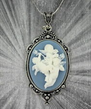 VINTAGE STYLE CAMEO PENDANT, NECKLACE -----SILVER PLATED SETTING