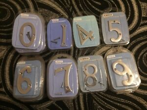 """CHROME 3"""" 76MM DOOR NUMBERS NEW SEALED"""