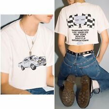 9680344458bcc Brandy Melville white Cropped cotton crewneck Samantha Car motor show 1984  top S