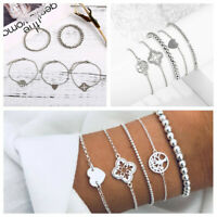 5Pcs/Set Retro Vintage Fashion Lady Love Tree Bead Chain Bracelet Bangle Jewelry