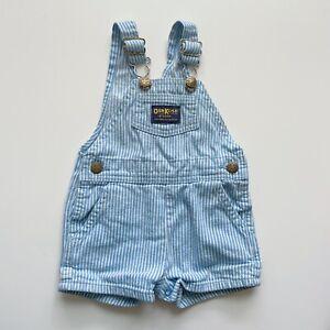 Vintage Oshkosh B'Gosh Baby Blue Striped Short Overalls Baby Sz 12 Months