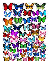 56 PRE-CUT Edible Butterflies Wafer Cupcake Cake Decoration Image Toppers Party