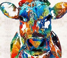 "Large Colourful Cow wall art printed on canvas 22'' X 22"" solid frame"