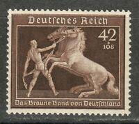 Germany 1939 MNH Mi 699 B145 Brown Ribbon at Munich.Man Holding Rearing Horse **