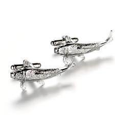 Vintage Mens Fish Designer Cufflinks Gift Christian Wedding Party Silver
