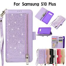 Bling Glitter Phone Wallet Strap Flip Stand Case Zipper Purse Leather Magnetic
