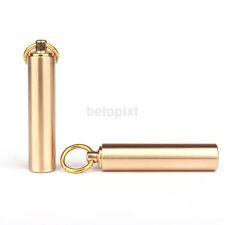 New Brass Pill Medicine Box Case Holder Container Capsule Bottle Keychain FR