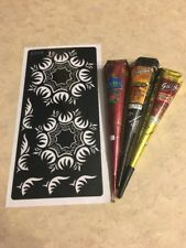 USA SELLER!! Henna Stencil Kit DYI #S203 + 3 Multicolored Henna Cones