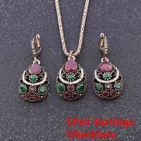 3PCs/Set Schmuckset Kristall Strasssteine Harz-Anhänger Ohrringe + Halskette