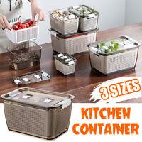 Kitchen Plastic Food Storage Box Refrigerator Fruit Vegetable Drain Container AU