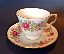 Queen Anne Pedestal Tea Cup And Saucer - Chinese Tree Pattern 8633 - England