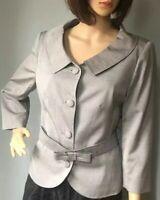 Kaliko Womens Tailored Vintage Style Eve Jacket Bow Belt Uk Size 12 Grey BNWOT