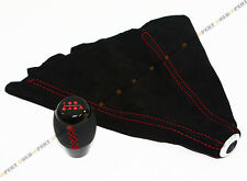 FOR ACURA RSX TSX INTEGRA TL LEATHER 6 SPEED SHIFT KNOB RED STITCH + SUEDE BOOT