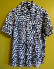 RODD & GUNN 100% LINEN BLUE WHITE PATTERNED SHORT SLEEVE SHIRT BNWOT XL
