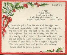 VINTAGE CHRISTMAS EGGNOG JAMAICA RUM RECIPE 1 WINTER SNOW GARDEN BEE HIVE CARD
