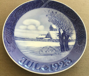 Royal Copnehagen Denmark Christmas Plate 1923 Danish Blue White Landscape Winter