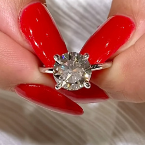 3.00 Ct Round Cut Moissanite Solitaire Engagement Ring In 14k White Gold Plated