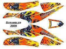 Kit déco Quad / ATV Polaris Scrambler - 2009 - Motor Skull Jaune