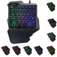 Durable Gaming Keypad with LED Backlight 35 Keys One-handed Membrane Keyboard