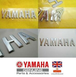 Yamaha GENUINE Retro Vintage Metal Tank Emblem CHROME Badge 120mm **UK STOCK**