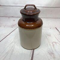"Vintage McCoy 252 Jug Crock w/ Lid Jar Pottery USA 8"""