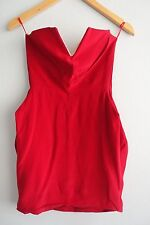 Ellery Strapless Boned V Neck Exposed Back Zip Red Silk Mini Dress sz 6