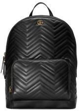 43a1cf792640 NEW GUCCI GG MARMONT BLACK LEATHER CHEVRON DOUBLE G MATELASSE LARGE BACKPACK  BAG