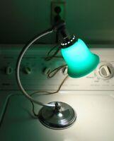 VINTAGE MACHINE AGE MODERN ART DECO CHROME SIGNED DESK LAMP W. OVERLAY SHADE