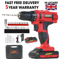 21V Cordless Drill Driver Combi Recharge Lithium Ion Screwdriver LED Worklight