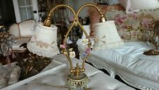 SHABBY ANTIQUE VTG PORCELAIN FLOWER ROSE french ORMOLU lamp MILLINERY SHADES