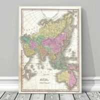 Vintage Finley Map of AUSTRALIA & ASIA 1827 Poster CANVAS PRINT 18x12""
