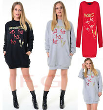 Womens xmas Fleece Jumper Glitter Prosecco hoho Oversize Sweater Pullover Top