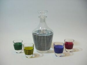 Liquor Decanter + 4 Shot Glasses in Multi-colored Pyro Gingham, Made in France