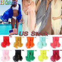 US Ladies Chiffon Wrap Dress Sarong Pareo Beach Bikini Swimwear Cover Up Scarf