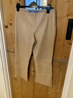 Escada Sport 100% Nappa Leather Camel Cropped Trousers Size 38 (12) Zip Ankle