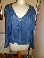 Quirky GRIZAS Lagenlook  100% Linen Blue Jacket  Large