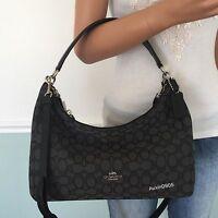 NEW! COACH Black Grey Small Signature Hobo Tote Shoulder Crossbody Bag Purse