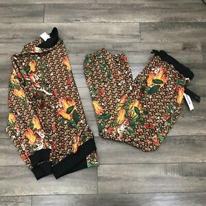 New Reason Tiger Tracksuit Set Jacket & Pants Mens Medium Brown