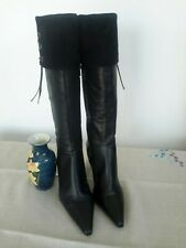 Ladies CLARKS Black Tall Knee High Leather Boots Size UK 6