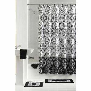 Mainstays Bathroom Set Shower (1) Curtain (12) Rings (2) Rugs 15pc