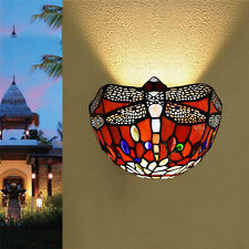 Tiffany Style Wall Light Dragonfly Design Stained Glass Decoration Shade Lights