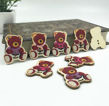 DIY 20X Bear Wooden Buttons Mixed 2 holes Sewing decoration scrapbooking 31mm