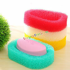 Mesh Sponge Soap Dish Box Shower Hotel Holders Bathroom Kitchen keep clean