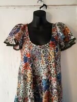 Vintage Funky 1960's Floral Long Dress, Circular Cape Sleeve, V-Neck and Back
