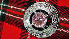 TC Fly Plaid Brooches Pink Stone Celtic Knot Work Chrome Finish/Celtic Brooch 3""