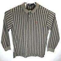 Vintage Polo Ralph Lauren Mens XL Gray Vatical Striped Long Sleeve Polo Shirt
