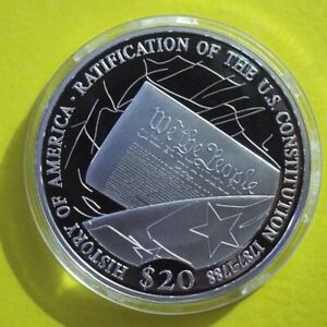 """2006 LIBERIA $20 Silver Proof """"RATIFICATION OF U.S. CONSTITUTION """" .999 Silver"""