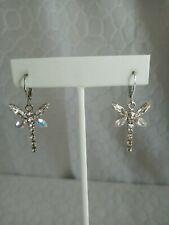 Kirks Folly Rhinestone Sterling Silver Dragonfly Lever back Earrings $12.99