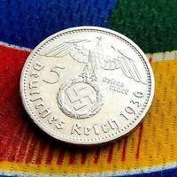 1936 G 5 Mark German WW2 Silver Coin Third Reich Swastika Reichsmark