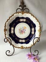 Vtg Reichenbach Echt Kobalt Dinner Plate 10 1/2'' Floral Center Gold Scroll GDR